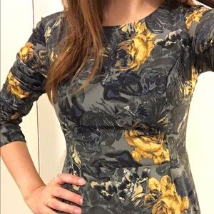 Kensie Gray and Yellow Floral Mimi Dress